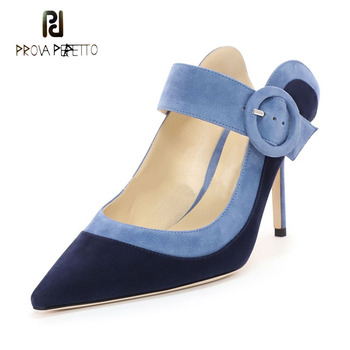 Prova Perfetto 2019 spring new thin high heel pointed toe slippers women mules shoes slingback shallow patchwork ladies shoes