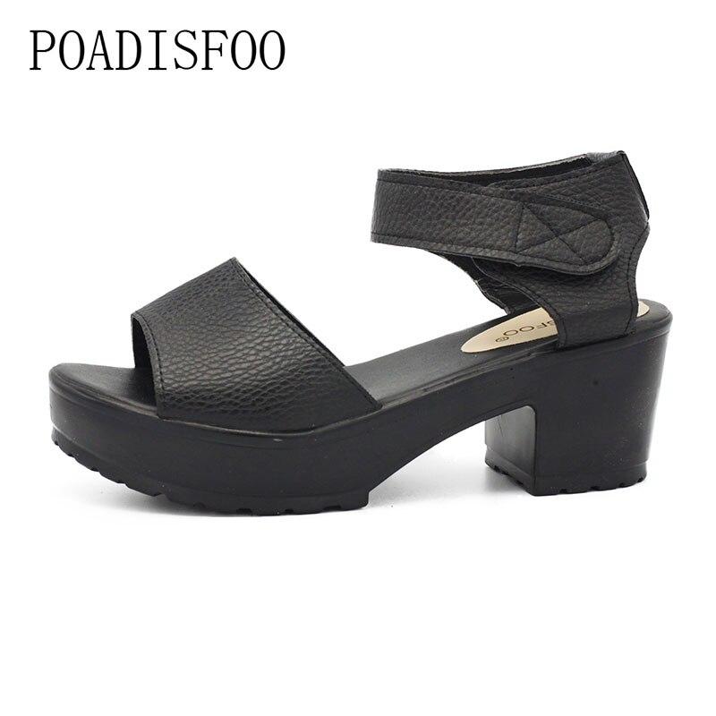 POADISFOO sandals women Summer shoes Woman wedges platform sandals square high heel  white black women shoes thick heel .XL-21 phyanic 2017 summer women sandals platform wedges sandals hook