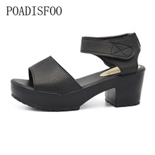 Poadisfoo сандалии женская летняя обувь Дамские босоножки на танкетке квадратный Высокий каблук белый черный женская обувь толстый каблук. XL-21