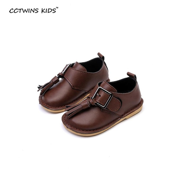 CCTWINS KIDS 2017 spring children black flat pu leather for toddler fashion tassel party shoe baby girl brand fringe loafer