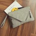 Mujeres bolsa de embrague del sobre de LA PU de Hombro de cuero de Cocodrilo de la vendimia del bolso Crossbody de Las Mujeres Embragues Bolsos bolsa feminina gris