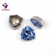 YANRUO 4706 All Sizes Light Sapphire Trilliant Glass Strass Crystal Pointed Back Sewing Rhinestones For Clothing