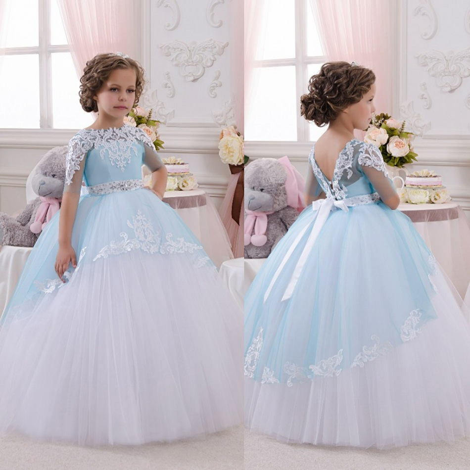 first communion   dresses   for   girls   short sleeve   Flower     Girl     Dresses   2016 christmas pageant gown lace appliques sashes crystal
