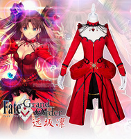Game Anime Fate/stay night Grand Order Tohsaka Rin Formal Craft Red Dress Cosplay costume