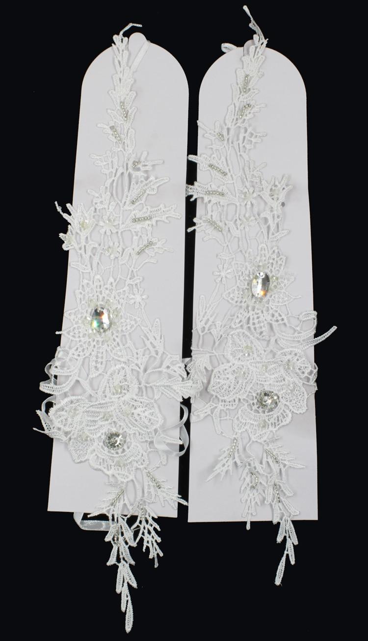 ZUOYITING New Luxury White Lace Prinsessan Brudhandskar Med Beaded - Bröllopstillbehör - Foto 2