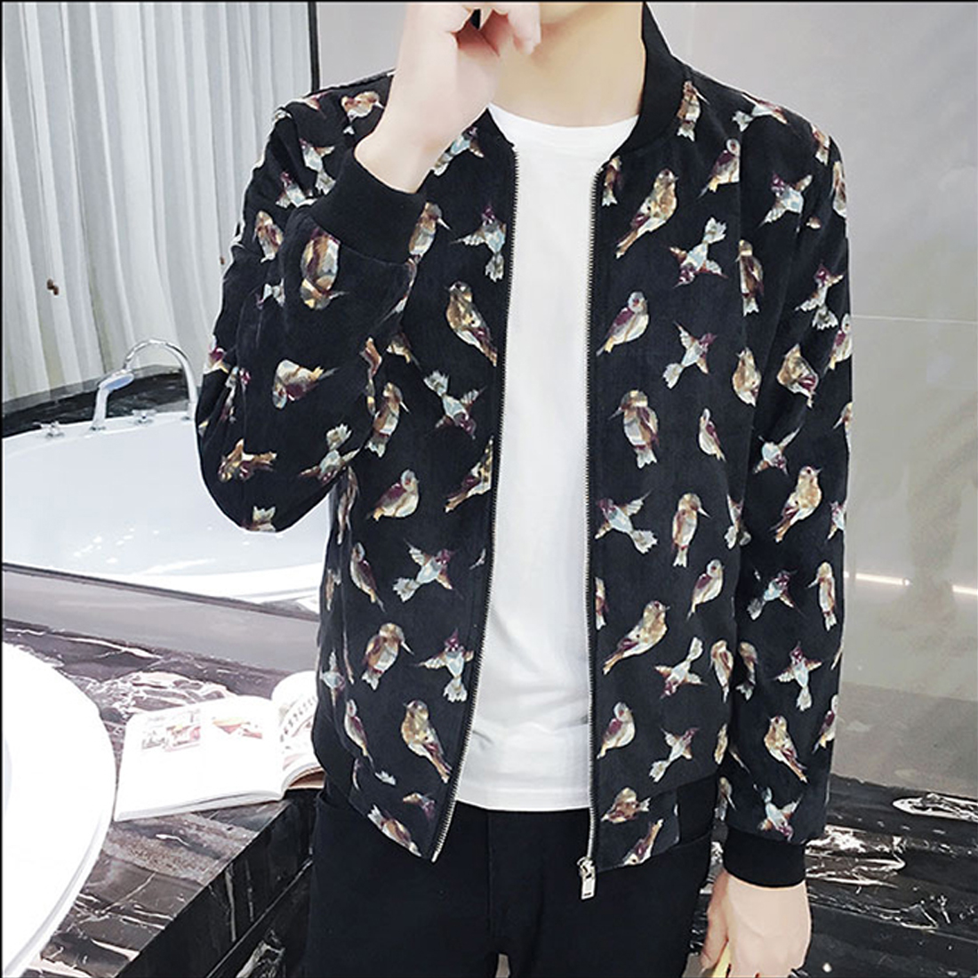 5608b220b US $20.3 27% OFF|Floral Printed Stylish Bomber Jackets Mens Long Sleeve  Zipper Up Brand Clothing 2017 Fashion Slim Casual Basic Coats Red Blue-in  ...