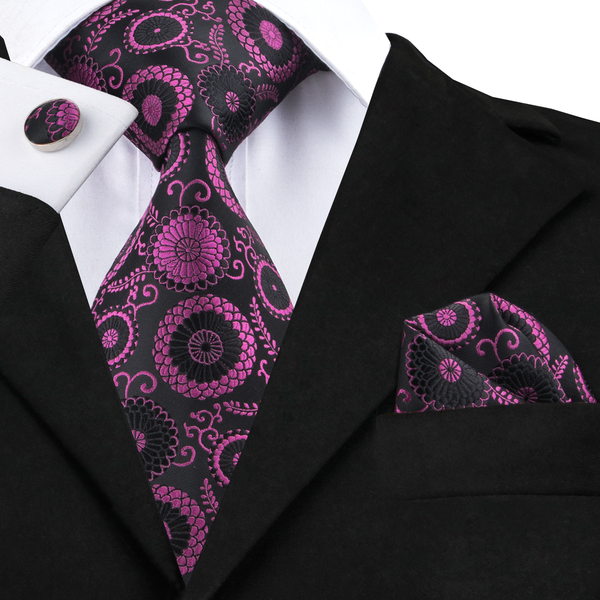 36660b433e6d3 っC-1439 High Quality Silk Tie Set Mens Ties Floral Necktie Pocket ...
