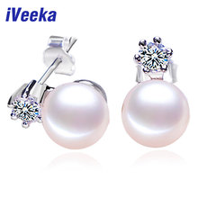 iVeeka 925 Sterling Silver Stud Earrings for Women with Natural Pearl Earrings Freshwater Cultured Trendy Earrings Fashion Gift