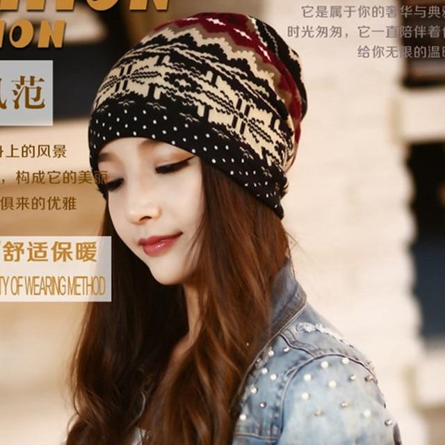 d3e0362e12c Miya Mona Womens Skullies Winter Hats Mask Beanie knitted Scarf Hat Stripe  Head Cap Thicker Snowflake Bonnet Caps For Girls