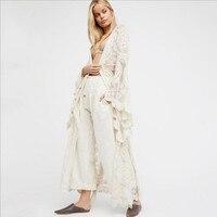 2019 Sexy Bohemian Lace Maxi Dress Fashion Long Flare Sleeve Women Cardigan Beach Dress Sarongs Pareo Summer Sundress Cover Up