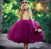 Bonito Lantejoulas de Ouro Roxo Fluffy Tulle vestido de Festa de Aniversário Das Meninas Vestido Jewel Decote Costas Abertas 2018 Vestidos de Meninas de Flor Todo o Tamanho