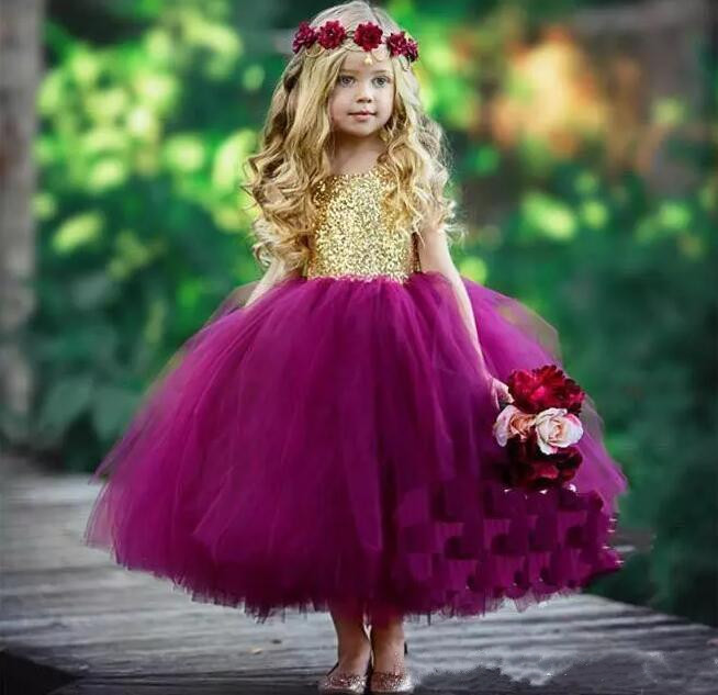 Cute Gold Sequins Purple Fluffy Tulle Girls Birthday Party Gown Jewel Neckline Open Back 2018 Flower Girls Dresses Any Size