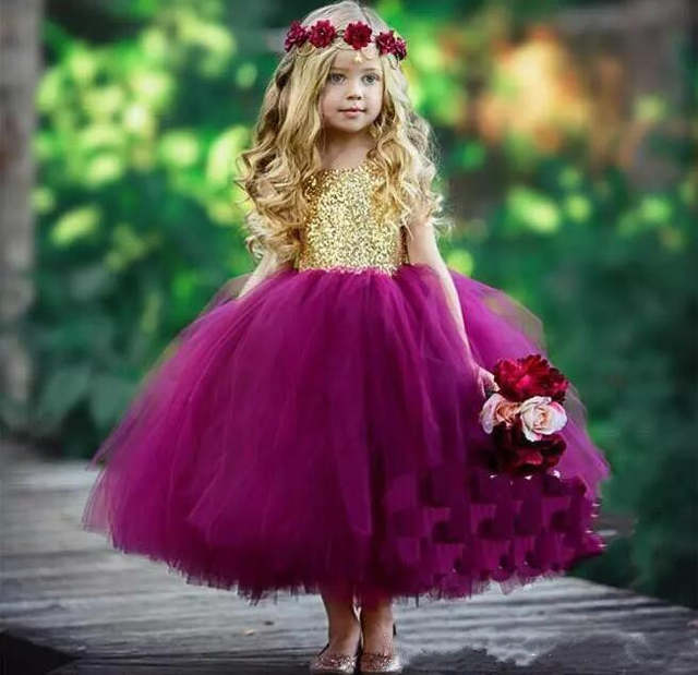 d1d680642 Online Shop Cute Gold Sequins Purple Fluffy Tulle Girls Birthday Party Gown  Jewel Neckline Open Back 2018 Flower Girls Dresses Any Size   Aliexpress  Mobile