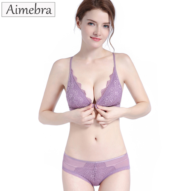 21c8a6d8eda Aimebra new arrive women sexy lace bralette front buckle push up bras  brassiere femme European and American sticky bra set