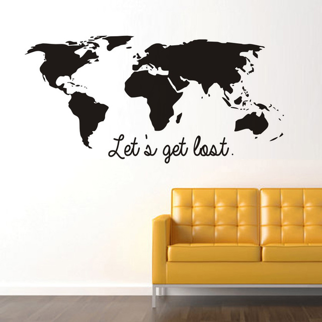 Lets get lost black color world map wall sticker vinyl diy world lets get lost black color world map wall sticker vinyl diy world travel view mural art gumiabroncs Images