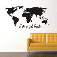 Let's Get Lost черный Цвет мира Географические карты стены Стикеры Винил DIY World Travel вид росписи Книги по искусству для офиса Спальня украшения накл...
