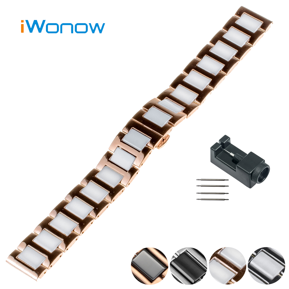 Ceramic Watch Band 18mm 20mm for DW Daniel Wellington Butterfly Buckle Strap Wrist Belt Bracelet Black White + Spring Bar + Tool 16mm ceramic watch band for huawei talkband b3 women s butterfly buckle strap wrist belt bracelet black white tool spirng bar