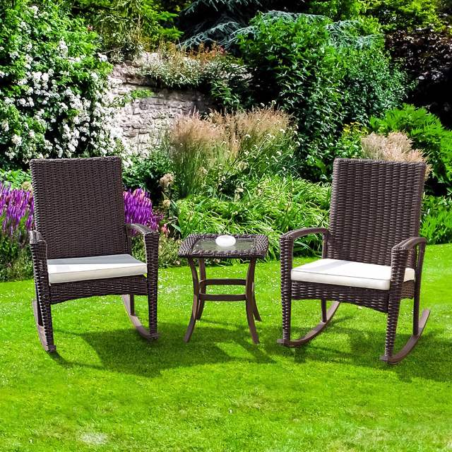 Online Shop Giantex 3 Pcs Rattan Wicker Patio Furniture Set Coffee
