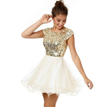 Nizza Sexy Glitter Gold Pailletten Homecoming Kleider Kurzarm Party Kleider Robe de Cocktail kleid Vestido de Festa