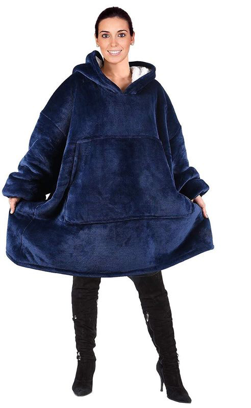 Image 3 - Winter Thick Comfy TV Blanket Sweatshirt Solid Warm Hooded Blanket Adults and Children Fleece Weighted Blankets for Beds Travel-in Blankets from Home & Garden