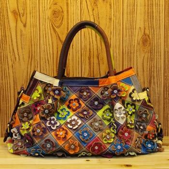 298 New Fashion Genuine Leather Shoulder Bag Women Personality Matching Multi-color Flower Handbag Oblique Cowhide Ladies Totes