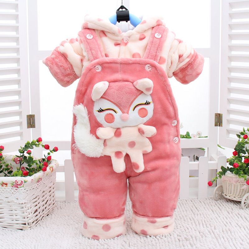 Autumn Winter Cartoon Thicken Long Sleeve+Suspender Trousers 0-2 Years Baby Infant Boy And Girl 2 Pieces Childrens Clothes