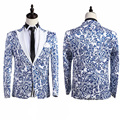 Brand New 2016 Chinese Style Blue And White Pattern Singer Performance Prom Costumes Slim Suit For Men