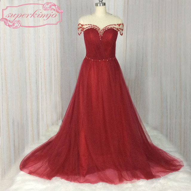 SuperKimJo New Design Burgundy Prom Dresses 2017 Beaded Crystal A Line  Tulle Prom Gown Sexy Formal Dress Vestidos De Festa f3d91ec8aafb