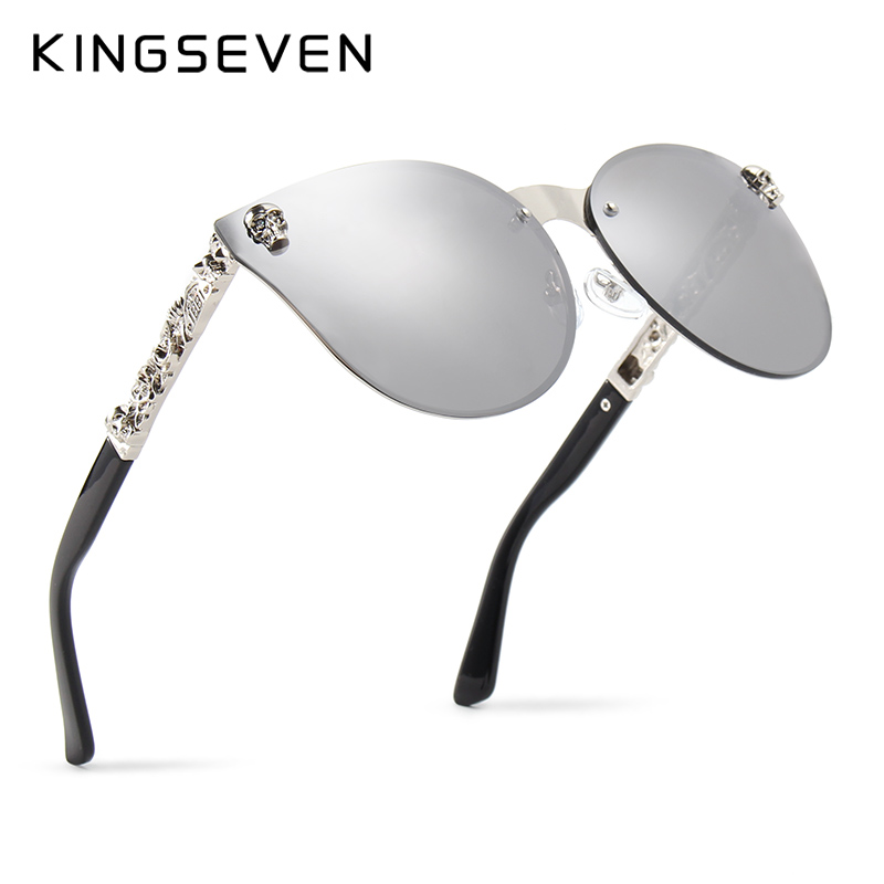 KINGSEVEN Luxury Brand Fashion Women Gothic Mirror Eyewear Skull Frame Metal Temple Oculos de sol UV400 With Accessories ...
