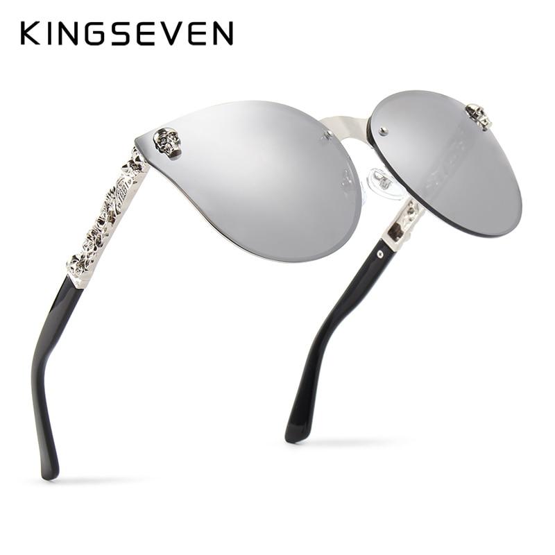 KINGSEVEN Luxury Brand Fashion Women Gothic Mirror Eyewear Skull Frame Metal Temple Oculos de sol UV400 With Accessories ...