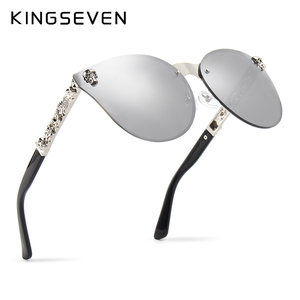 KINGSEVEN Luxury Brand Fashion Women Gothic Mirror Eyewear Skull Frame Metal Temple Oculos de sol UV400 With Accessories(China)