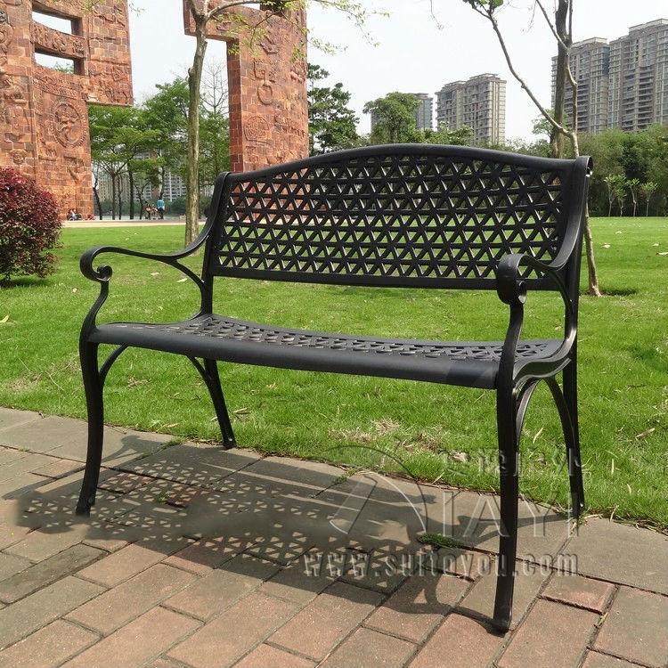 modern metal outdoor furniture photo. 2 seater cast aluminum luxury durable park chair garden bench white bronze modern metal outdoor furniture photo