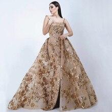 6536b445b Tiempo de oro elegante mujer Formal árabe Vestidos de noche de encaje 2019  con falda desmontable Abend Kleider vestido elegante .