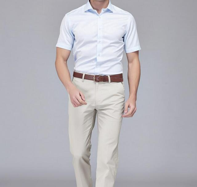 Men of the latest model formal occasio short sleeve shirt cool ...