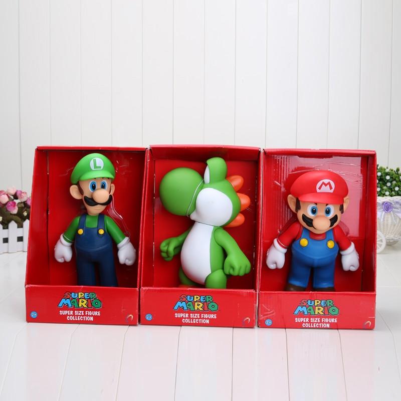 3 Pcs//Set Super Mario Bros Mario Yoshi Luigi PVC Action Figure Model Toy