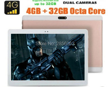 4G Tableta de la Llamada de Teléfono de 10 pulgadas Octa Core Android 6.0 1920×1200 8. MP Cámara Dual FM GPS Bluetooth Phablet 4 GB 64 GB tablet pc 10.1