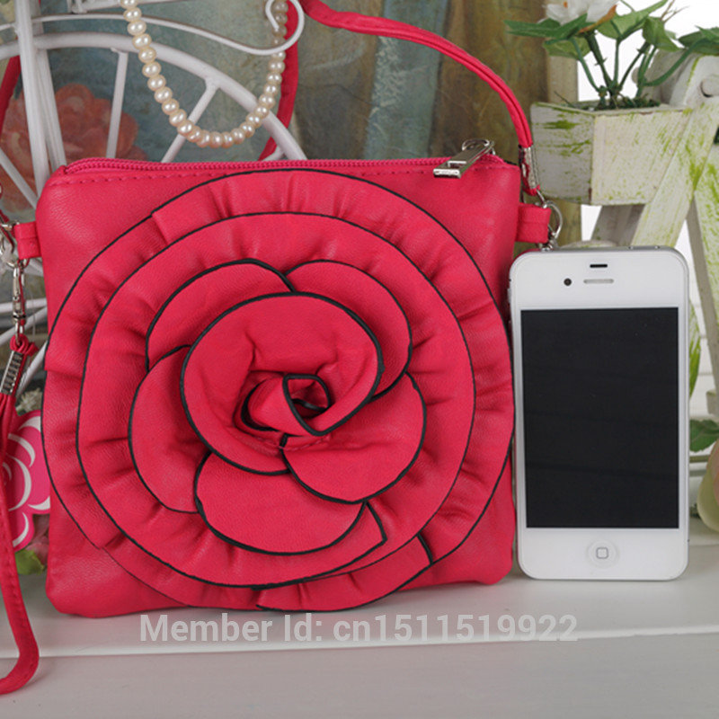 Messengers PU leather square flower camellia rose Women handbag bags 2 straps 15 colors