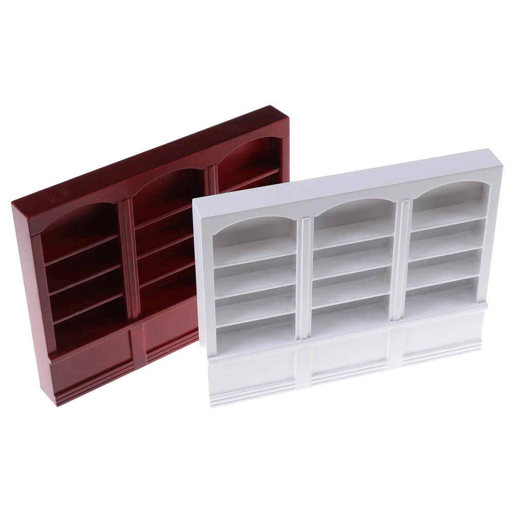 Multifunction Wood Cabinet Bookcase 1 pc bookcase 1/12 Dollhouse Miniature Furniture 2 colors L22.7x W2.9x H17.6cm