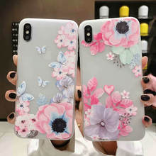 Small Fresh Floral For Iphone 6 6s 7 8P X Xs Xr Max Embossed Translucent Phone Case