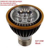 10PCS Factory Sale LED PAR20 Bulbs E27 15W 5*3W Warm White Cold White White 110V 220V Dimmable LED PAR 20 P20 Spotlights Lamps