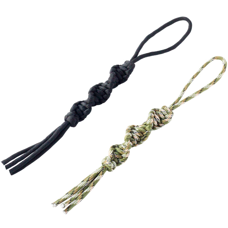 2PCS QingGear Handcrafted Paracord Tactical Knife Lanyard Twist Key Fob Flashlight USB Zipper Lanyard Outdoor Camping