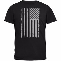 New printed T shirt brand clothing fashion printed T-shirt Distressed Grey Vertical American Flag slim Tee shirt Top plus size