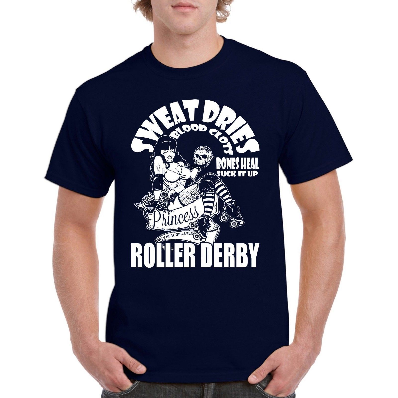 Roller Derby Princess Mens Tee Shirt Blood Clots100% Cotton T-shirt