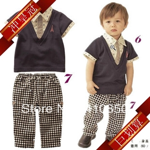 2013 Summer Preppy Style Boys Clothing Handsome Short Sleeve Set Baby Plaid Clothes In Clothing