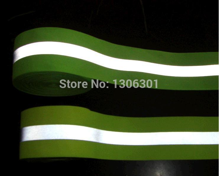 High visibility fluorescent green 5cm Reflective warning safety tape reflective strip Reflective ribbon for clothing