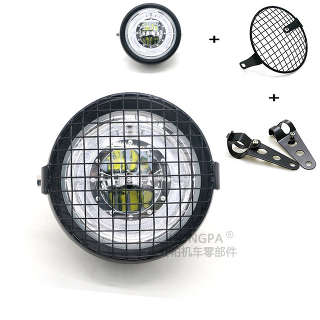 Motorcycle LED Headlight Hi&Lo HeadLamp Bulb With Angel Ring for Harley Sportster Cafe Racer Bobbe