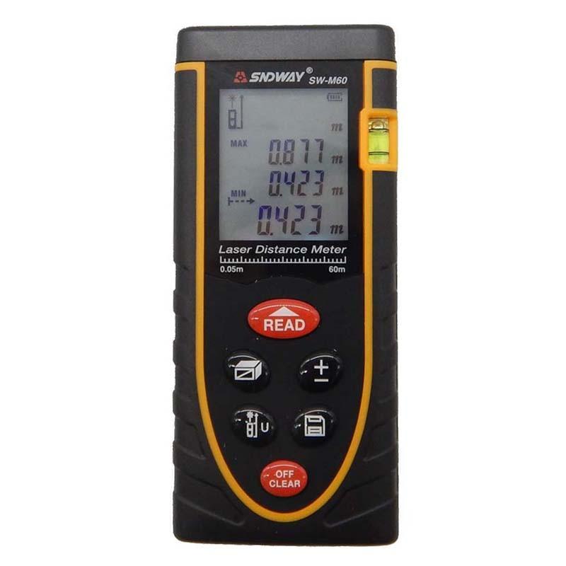 ФОТО Digital SW-M60 60m distance meter/Laser Rangefinders Bubble level Area/volume M/Ft/in tool Rangefinder distance finder meter