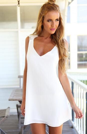 6ce658fcfe8a Plus Size Summer Dress Sexy Backless Lace Cross Party Dresses Mini Short  V-Neck Womens Dresses Ladies Casual A-Line Women Dress
