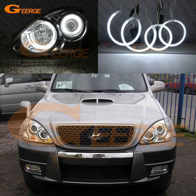 Фото For Hyundai Terracan 2001-2007 headlight Excellent CCFL Angel Eyes Ultra bright illumination Angel Eyes kit halo rings
