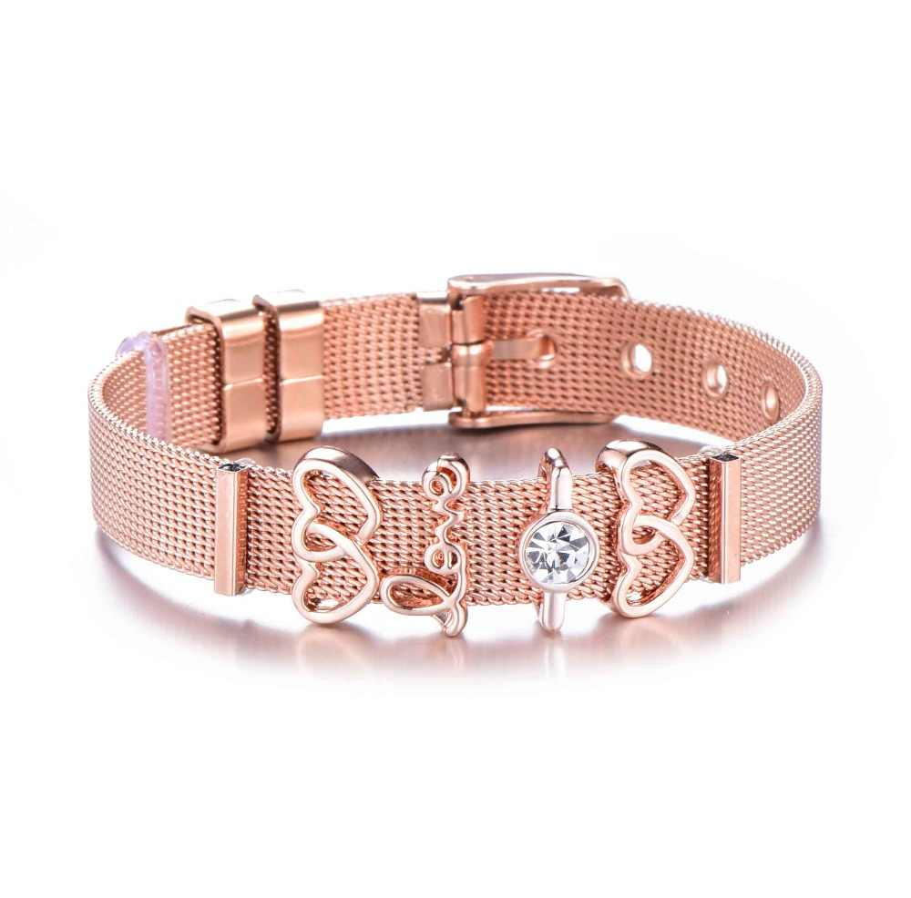 3c4e0985d94d1 Rose Gold Color Stainless Steel Mesh Bracelet Set Heart Crystal Charm  Pandora Bracelet Bangle for Woman Lovers Girlfriend Gift